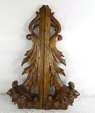 Pair Antique French Carved Oak Wood Crest Pediment Furniture Cornucopia