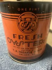 Vintage Oyster Can T.A. Treakle & Son  VA 113  Pint Size