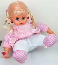 """Laughing Sitting Girl Baby Doll in Pink Dress Plush Plastic - Batteries 8""""H New"""
