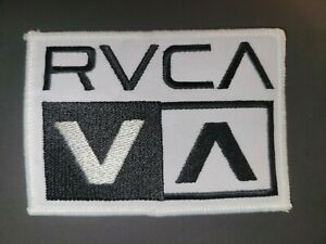 """RVCA Black & WHITE Embroidered 4"""" x 2.75"""" Iron On Patch"""