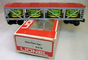 LIONEL: 9128 HEINZ PICKLE VAT CAR LN PAINT MISSING ONE STEP WORN ORIGINAL BOX