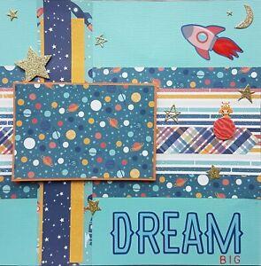 "Handmade Premade Scrapbook Page Layout ~ DREAM ~ Space Boy Aliens 12"" x 12"""