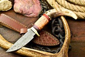 Custom Hand Made Damascus Steel Blade Hunting Knife | Ram's Horn