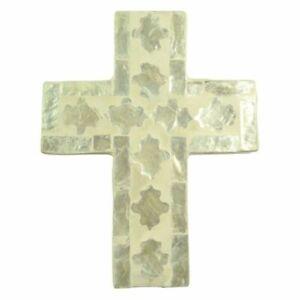 1pce Cheyenne Inlay Crucifix Cross 11.5x15cm Ivory Christian Wall Art Décor