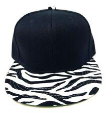 BLACK WHITE ZEBRA ANIMAL PRINT SNAPBACK HAT CAP FLAT BILL ADJUSTABLE TIGER RETRO