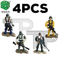 4PCS Military Soldiers France US Britain Army Weapon Fit Mega Bloks MiniFigures