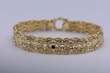 "8"" Technibond Double Row Byzantine Bracelet 14K Yellow Gold Clad Silver 925 QVC"
