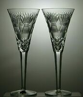 Lovely Pair of Waterford Crystal Millennium Toasting Champagne Flutes Prosperity