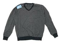 Marks & Spencer Mens Size L Cotton Striped Blue Midweight Jumper