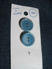 ANT/VTG CURTIS & DARLING PARTIAL CARD BABY BLUE MOONGLOW LUC/PLA BUTTONS QTY 2