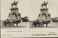 Italia Roma Monumento Garibaldi Stereo Deley , Cartolina Héliotypie