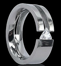Wide Titanium Tension Fashion Ring with Triangle Cz, size 13, New - in Gift Box