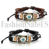 Men's Women's Vintage Trible Handmade Multilayer Leather Cuff Bracelet Wristband