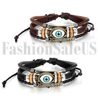 Men's Women's Vintage Trible Handmade Multilayer Leather Cuff Bracelet Wristband