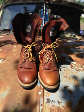 GEORGIA BOOT USA BROWN LEATHER LACE UP KILTIE WESTERN TRUCKER FARM BOOTS 8 M