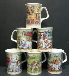 SET OF 6 ENGLISH DOG BONE CHINA MUGS BEAKERS TO CLEAR 4 DIFFERENT ONES BY DATA