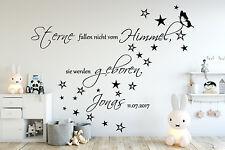 Wandtattoo AA138  Kinderzimmer Sterne fallen nicht...Namen Baby Junge Mädchen