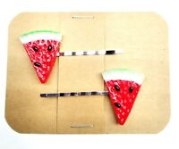 WATERMELON SLICE Summer Fruit Bobby PIn Hair Clip Accessory - Set of 2 Handmade