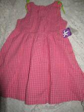 Nwt J. Khaki coral check seersucker smocked dress girl 4T free ship Usa