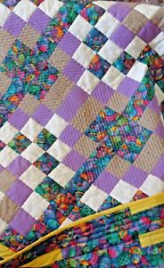 Faberge Egg Patterned Quilt Measures 53 by 46 inches with Yellow, White Butterfl