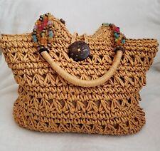 KELLY & KATIE Boho Brown Straw Multicolor Beaded Handbag Purse