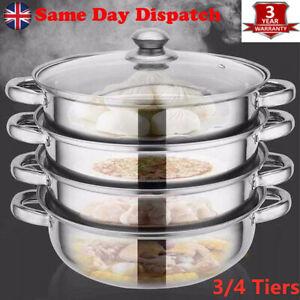 28CM 3/4 Tier Large Steamer Cooker Pot Pan Set Fish Soup Cookware Steam Lid S/S