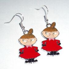 Kitsch Kawaii Enamel Moomin Troll Little My Red Dress Charm Earrings