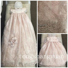 Pink Baptism Dresses Crystal Long Lace White Ivory Christening Gown + Bonnet New