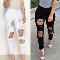 Women Skinny Ripped Jeggings Jeans Pant High Waist Stretch Denim Pencil Trousers