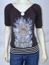 Jullia Brown Money Glitter Top Juniors Size Medium 7 9