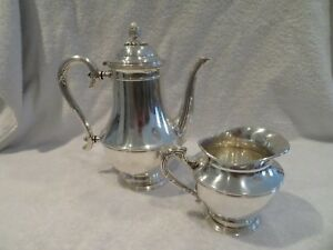 Early 20th c french silver-plated coffee pot & creamer Christofle Louis XVI st