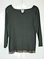 CLIO BLACK RIBBED KNIT BEADED HEM 3/4 SLEEVE KNIT TOP SZ M #G353