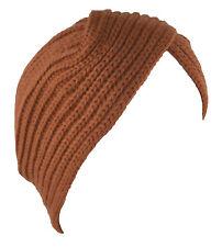 Turban Hat Head Cover Winter Knit Hat Beanie Dark Orange
