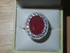 8.12ct Simulated Ruby Ring w/ CZ Stones - Sterling Silver 925 - Size 6 1/2 - New