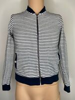Barbour Sweatshirt Jumper Ladies Womens White Navy Blue Zip Up 10 8 Stripe