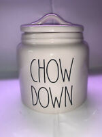 "VHTF!! Rae Dunn ""Chow Down"" Canister  Ceramic  6"" Diameter x  6"" Height"