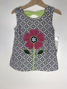 Kids Headquarters Girls Size 6 Sleeveless Floral Embroidered Bow Accent Tank Top