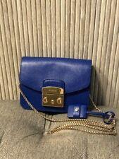 Authentic  Furla Metropolis Mini Crossbody Bag Blue Leather