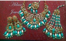 Wedding  jewelry Indian Turquoise Gold Necklace Earrings Tika Bridal Set
