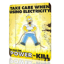 Metal Signs THE SIMPSON Take care when using electricity POSTER DECOR RUSTED