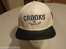 Crooks & Castles Thuxury white PU faux Hat Cap Men's RARE surf skate C and C NEW