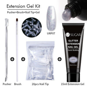 UR SUGAR 4pcs Extension Gel Kit Glitter Jelly Nail Gel Set Fast Tips Building