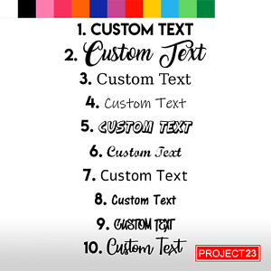 2x Custom Personalised Name/Word Cut-Vinyl Decal 10 Fancy Font Sticker Hinch
