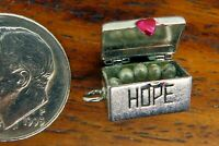 Vintage silver MOVABLE HEART HOPE CHEST PEARL NECKLACE SWEETHEART LOVE charm #1