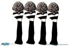 3 5 7 X Classic BLACK WHITE KNIT POM golf club Headcover vintage Head covers Set