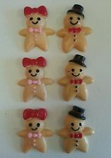 6 Gingerbread Man/Lady Resin Flatback Craft,Card .Embellishments.3x2.5cms.