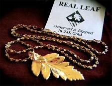 "REAL FERN LEAF DIPPED IN 24K GOLD PENDANT NECKLACE 18"" LENGTH 14K GP CHAIN"