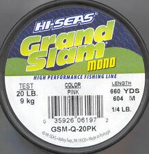HI-SEAS GRAND SLAM MONO 20# 20lb  PINK  660 YARD SPOOL  GSM-Q-20PK