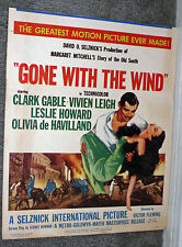 GONE WITH THE WIND original 1954 movie poster VIVIEN LEIGH/CLARK GABLE