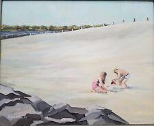 Lois Dicksheets Original Art Oil Painting Children Playing Sand Beach Nautical